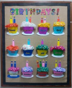 using birthday cupcakes