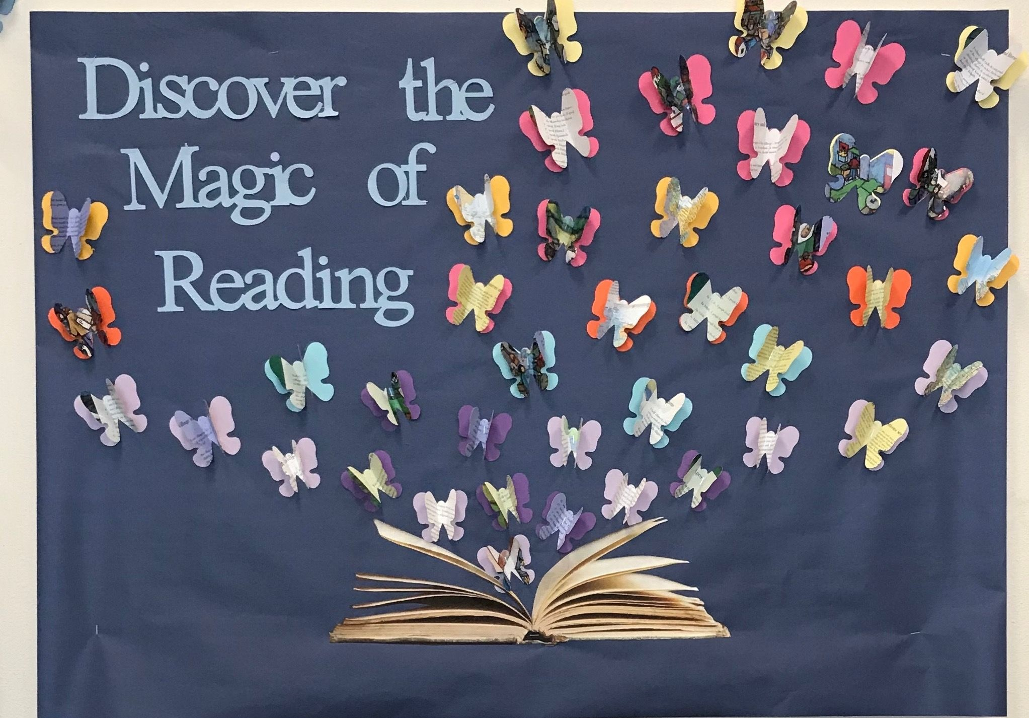 bulletin board idea: discover the magic of reading
