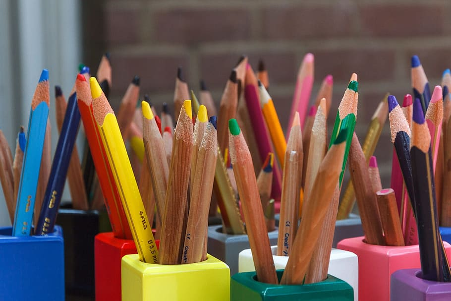 colored pencils organized by color
