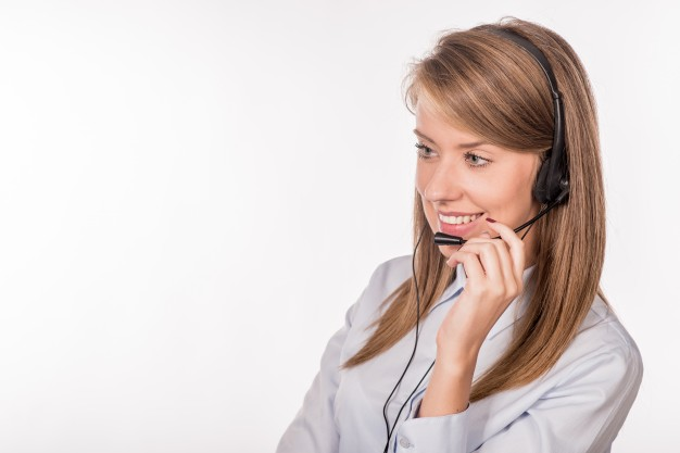 woman using a headset for online teaching
