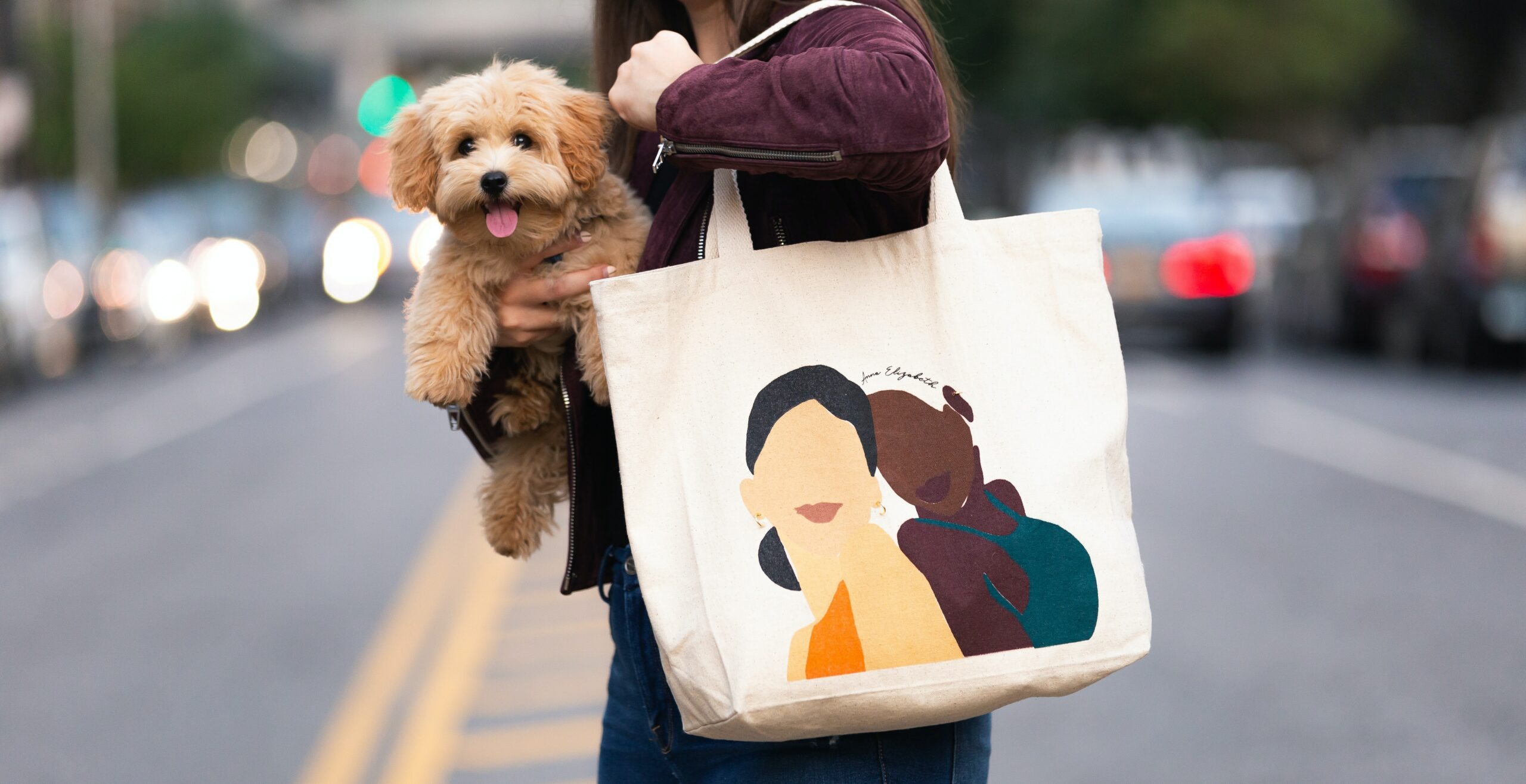 a teacher with her dog and totebag