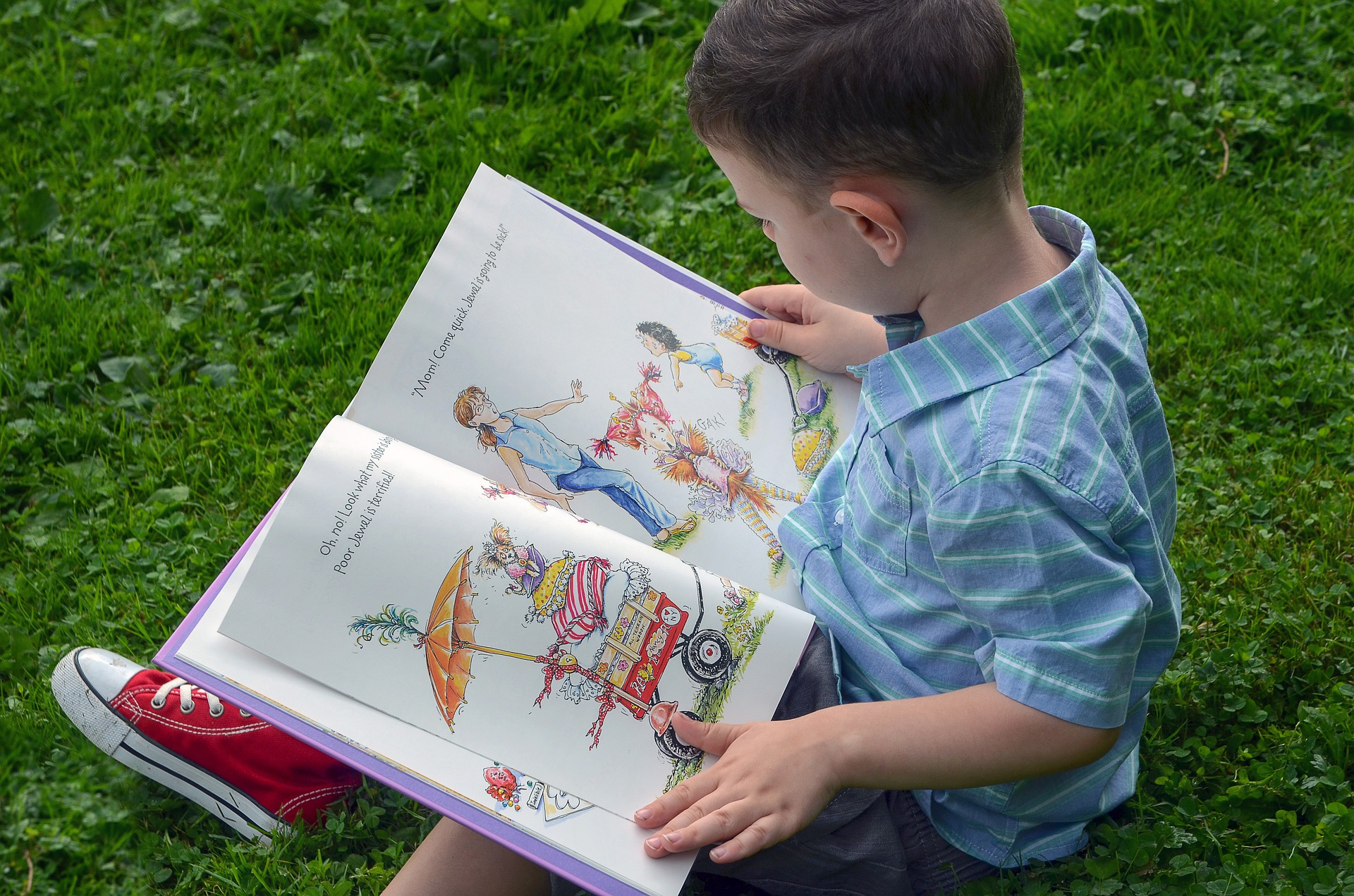 a child reading an engaging book
