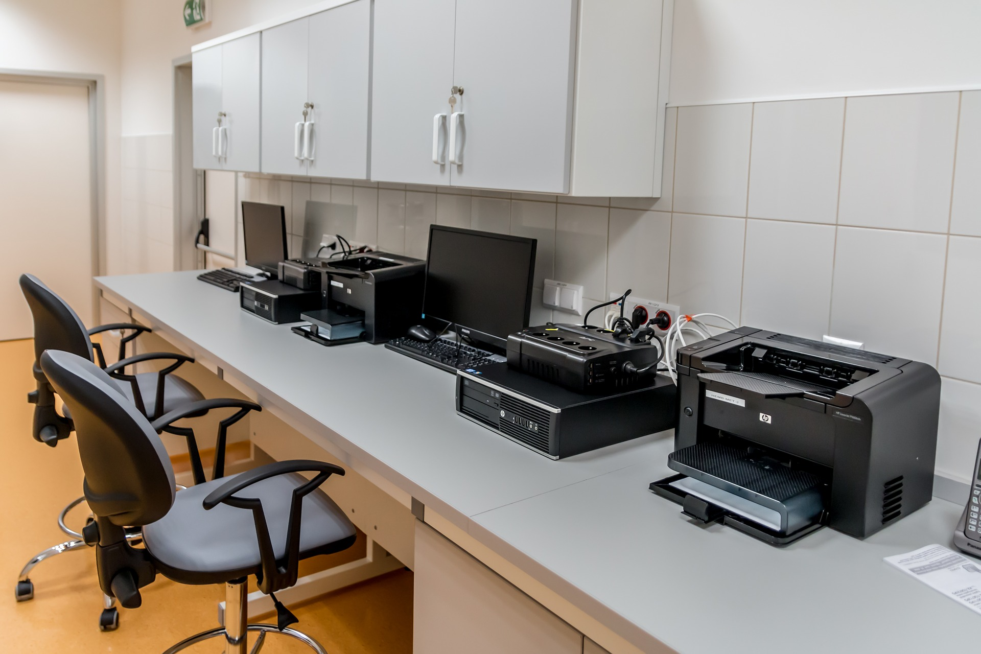 a line of printer in an office