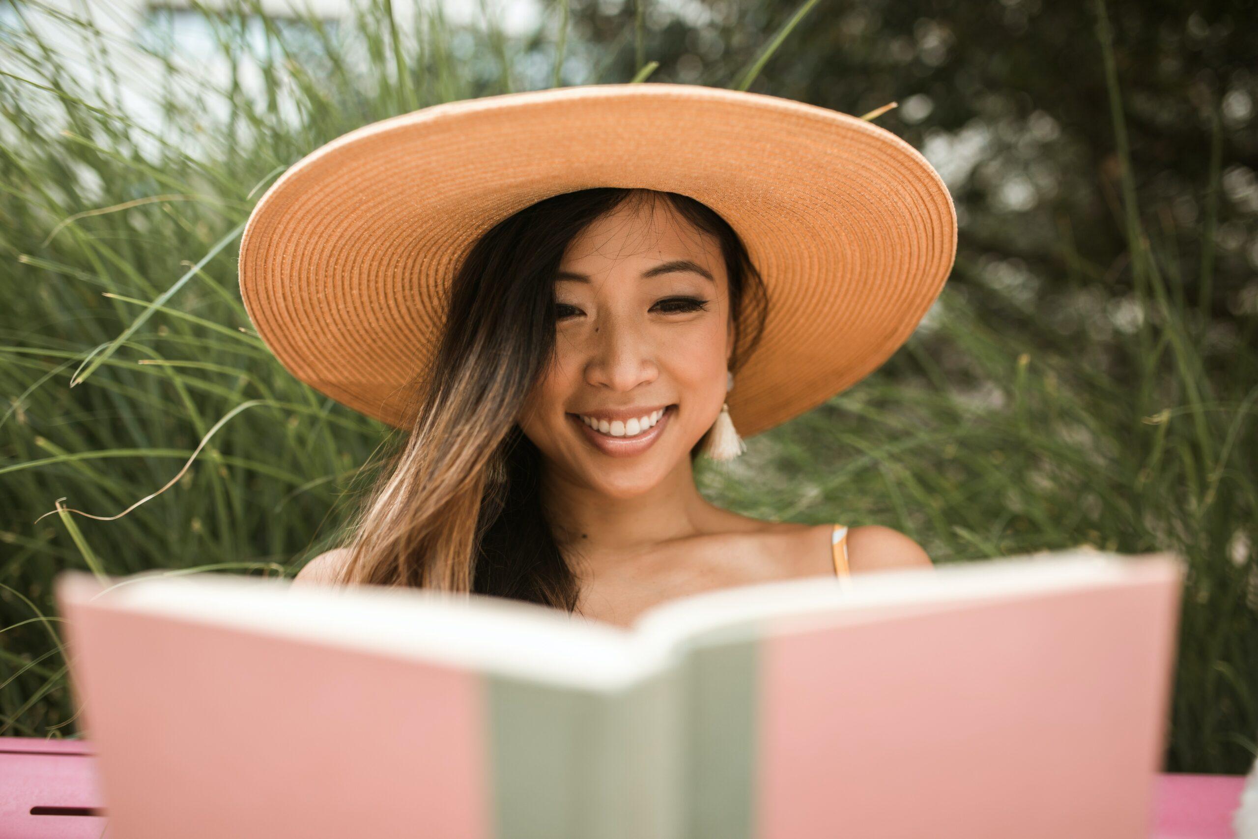 a teacher enjoying a book