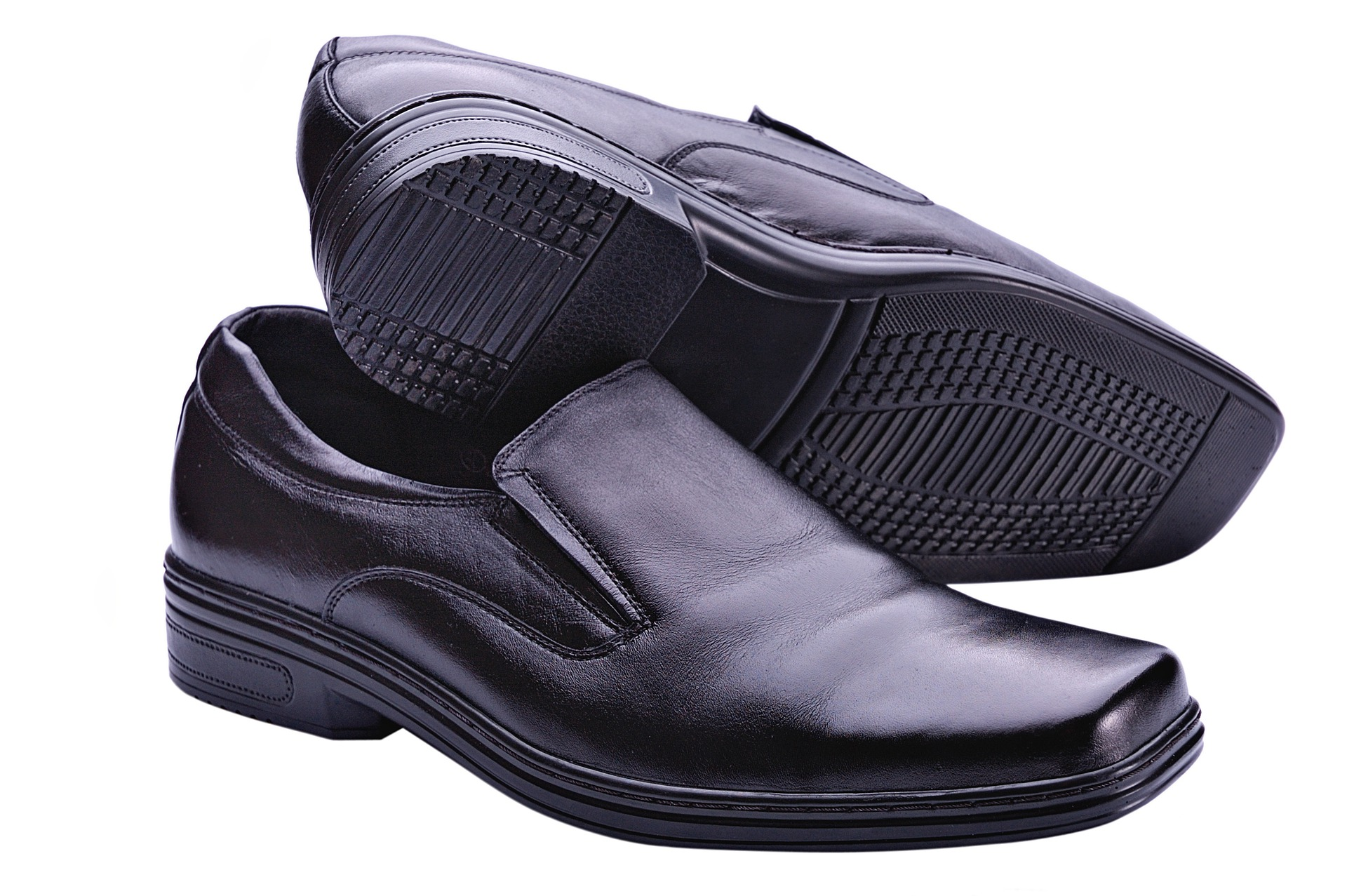A pair of black loafers for male teachers