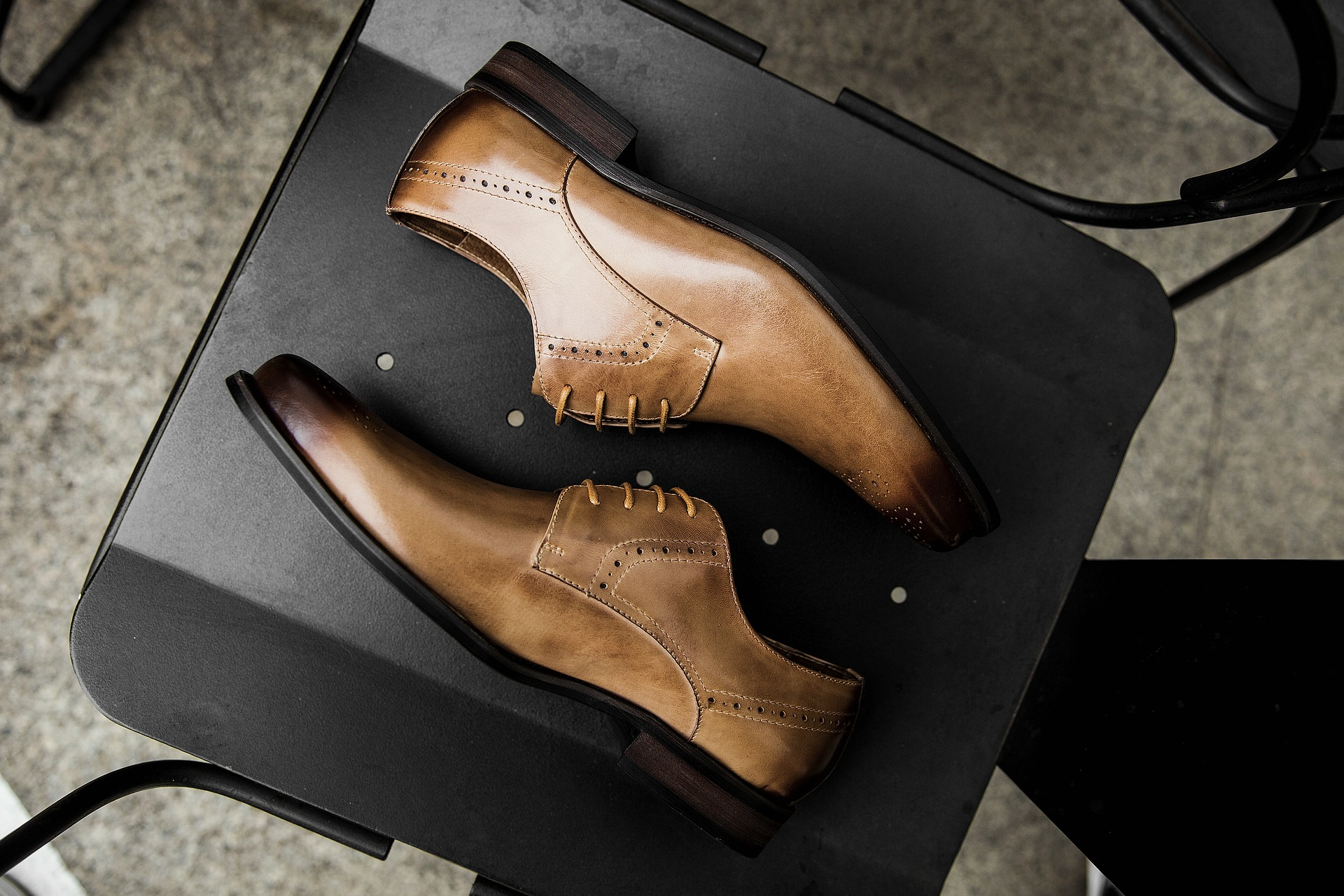Derby shoes on a chair