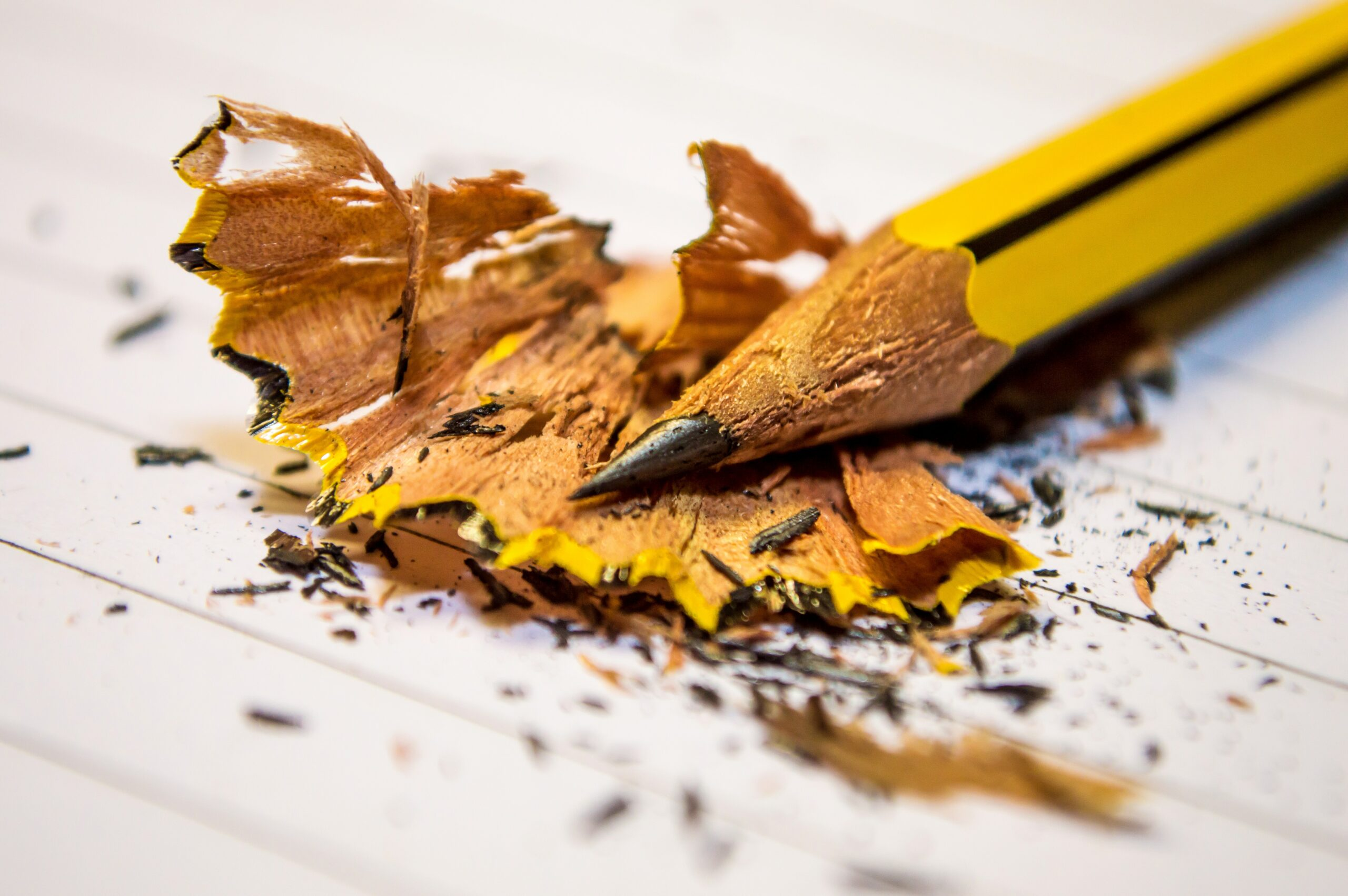 a sharpened pencil with pencil shavings