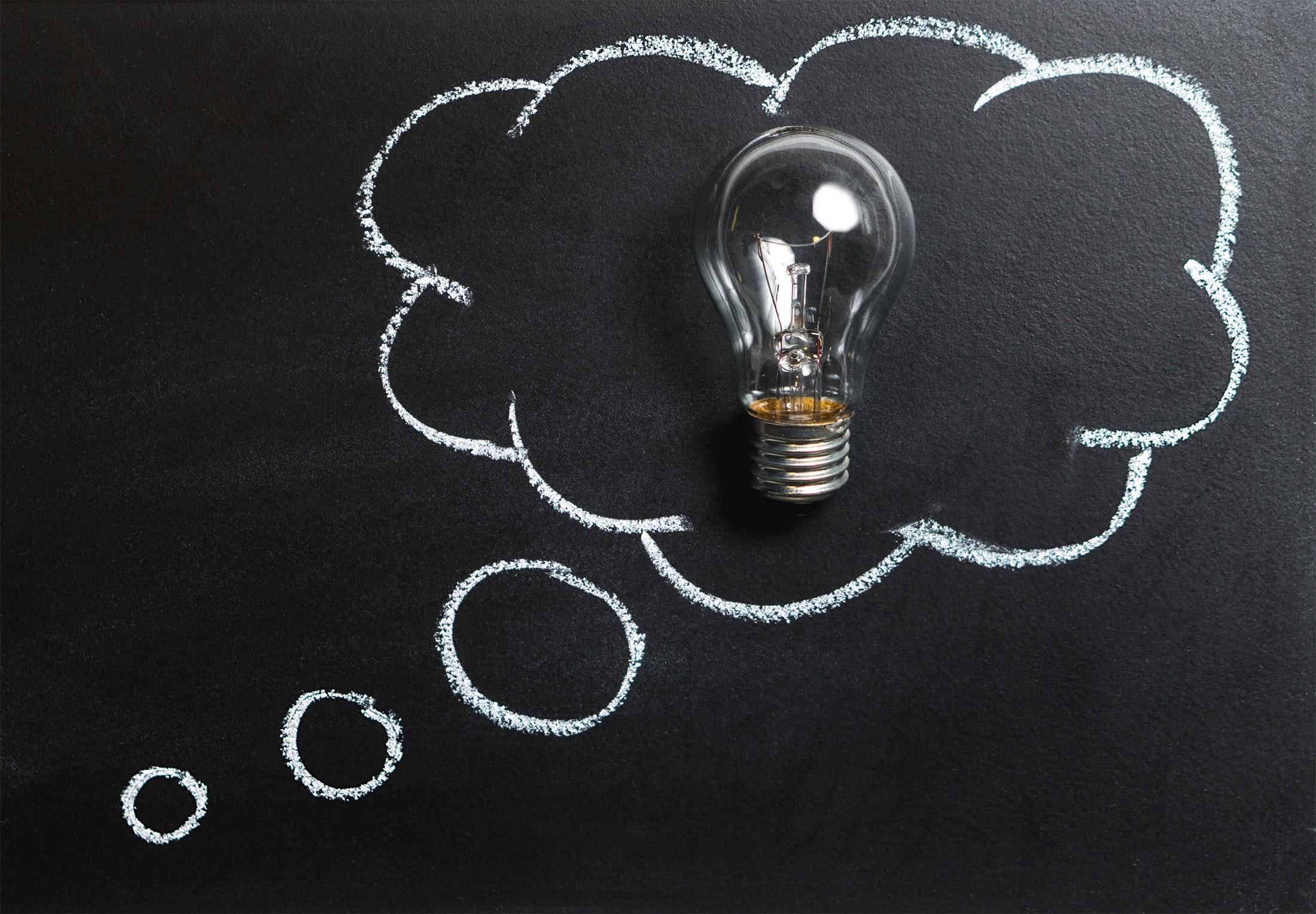 a light bulb inside a bubble thought