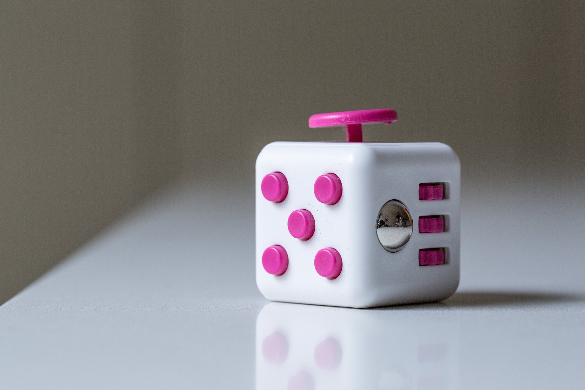 A fidget cube used for stress relief