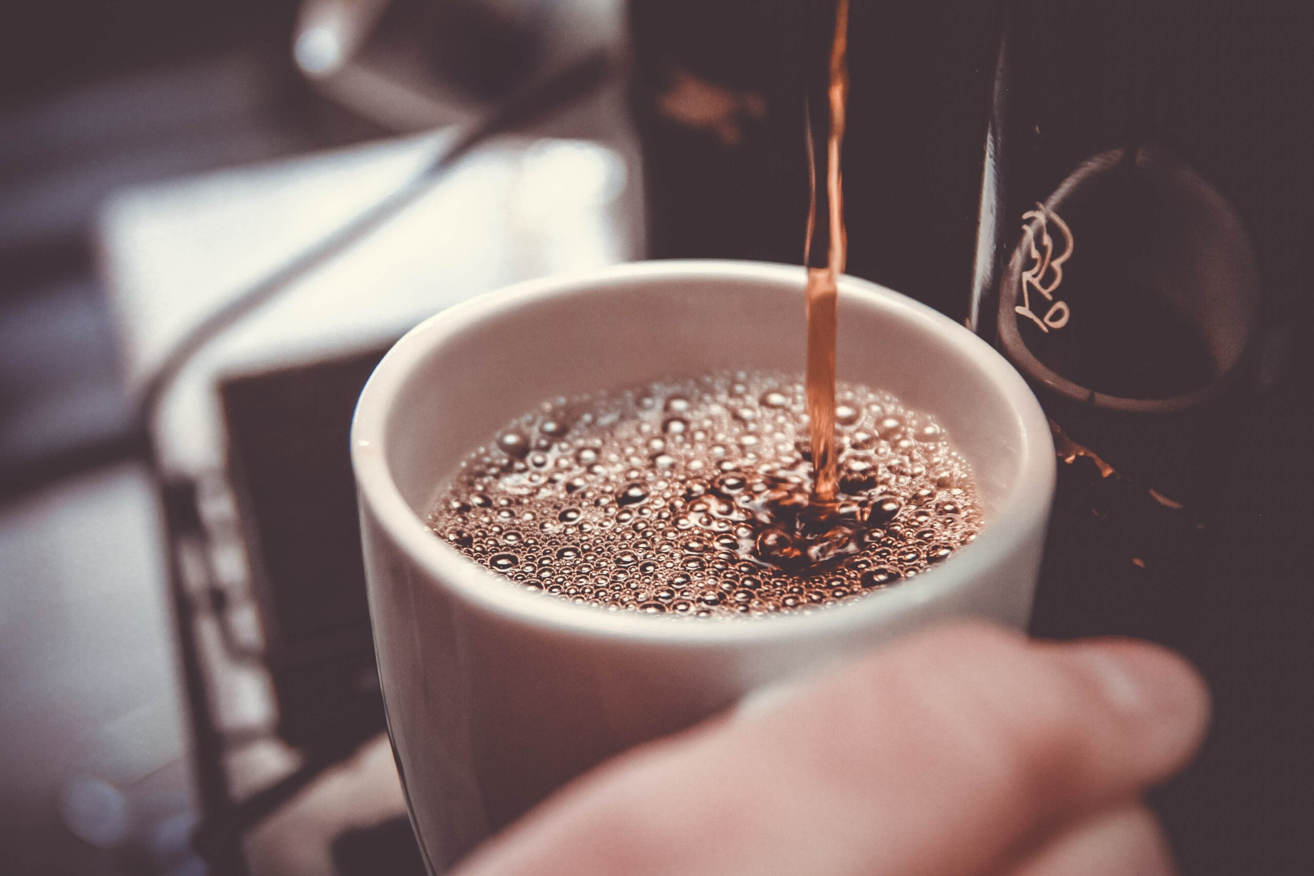 Freshly brewed coffee being poured