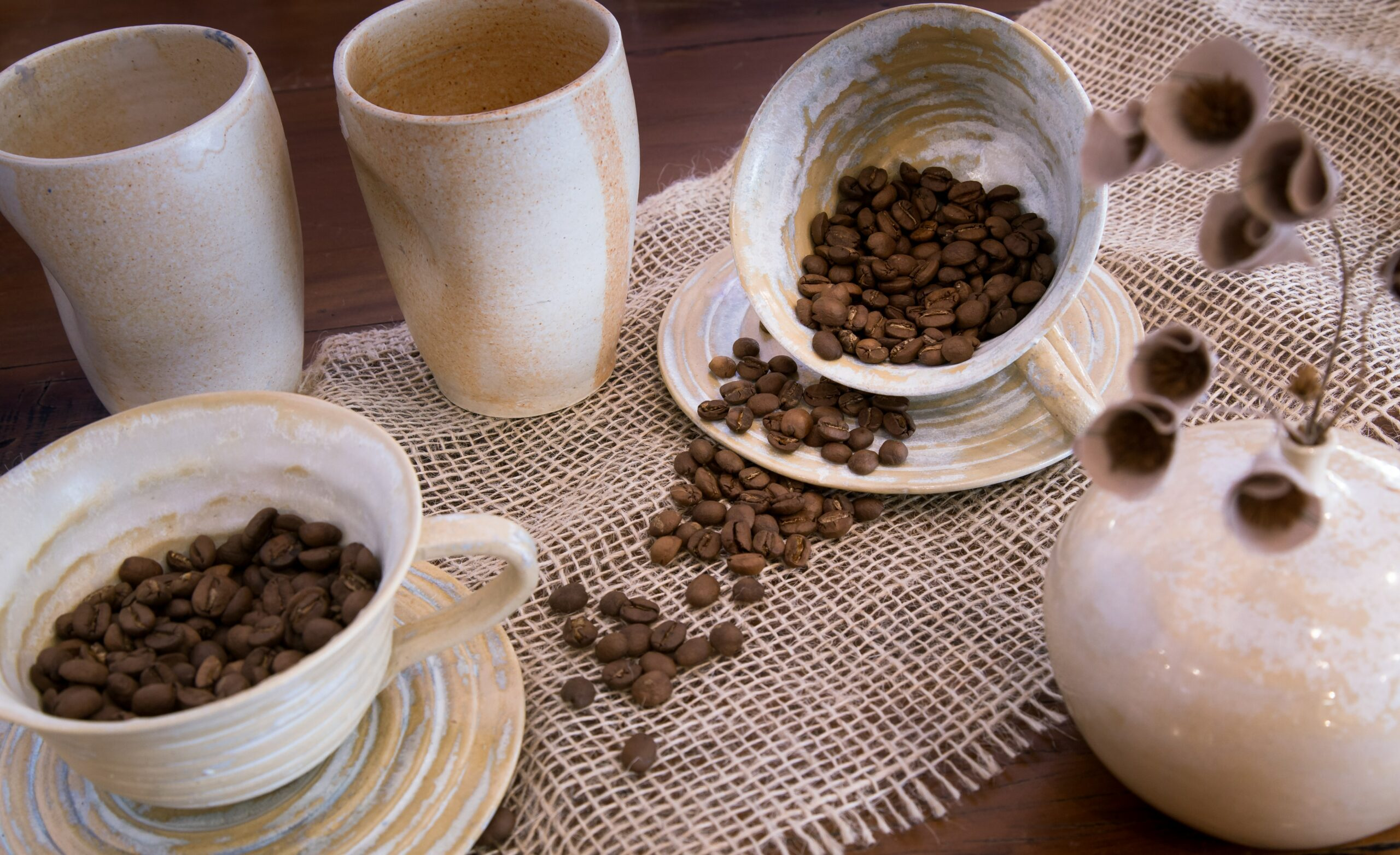 coffee beans in mugs