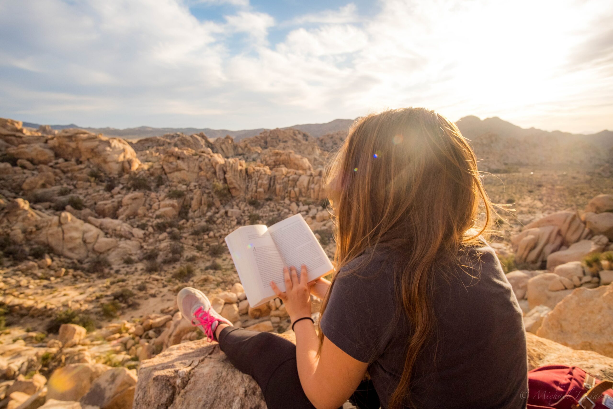 a teacher reading a book by the grand canyon